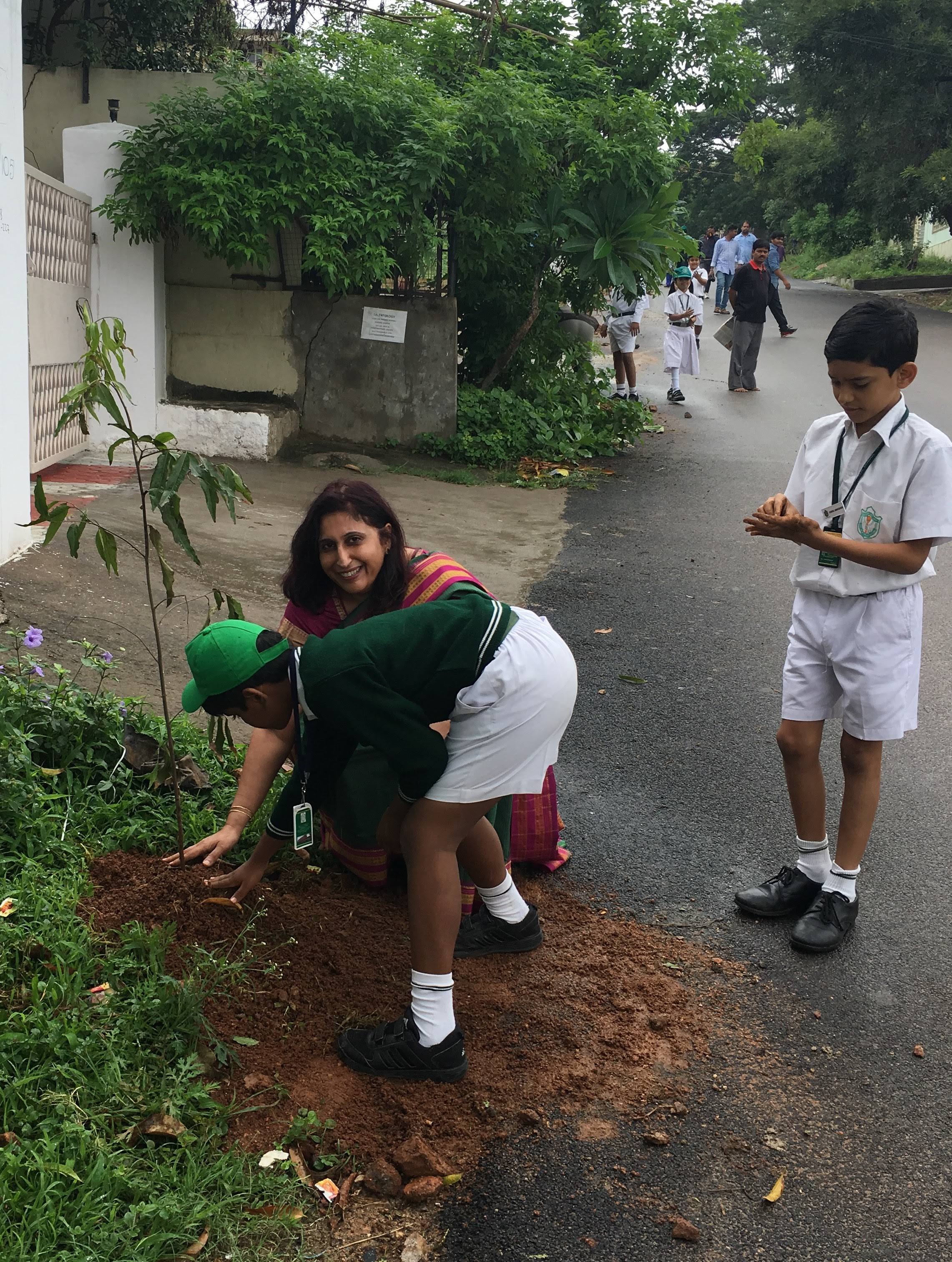 A student planting a tree